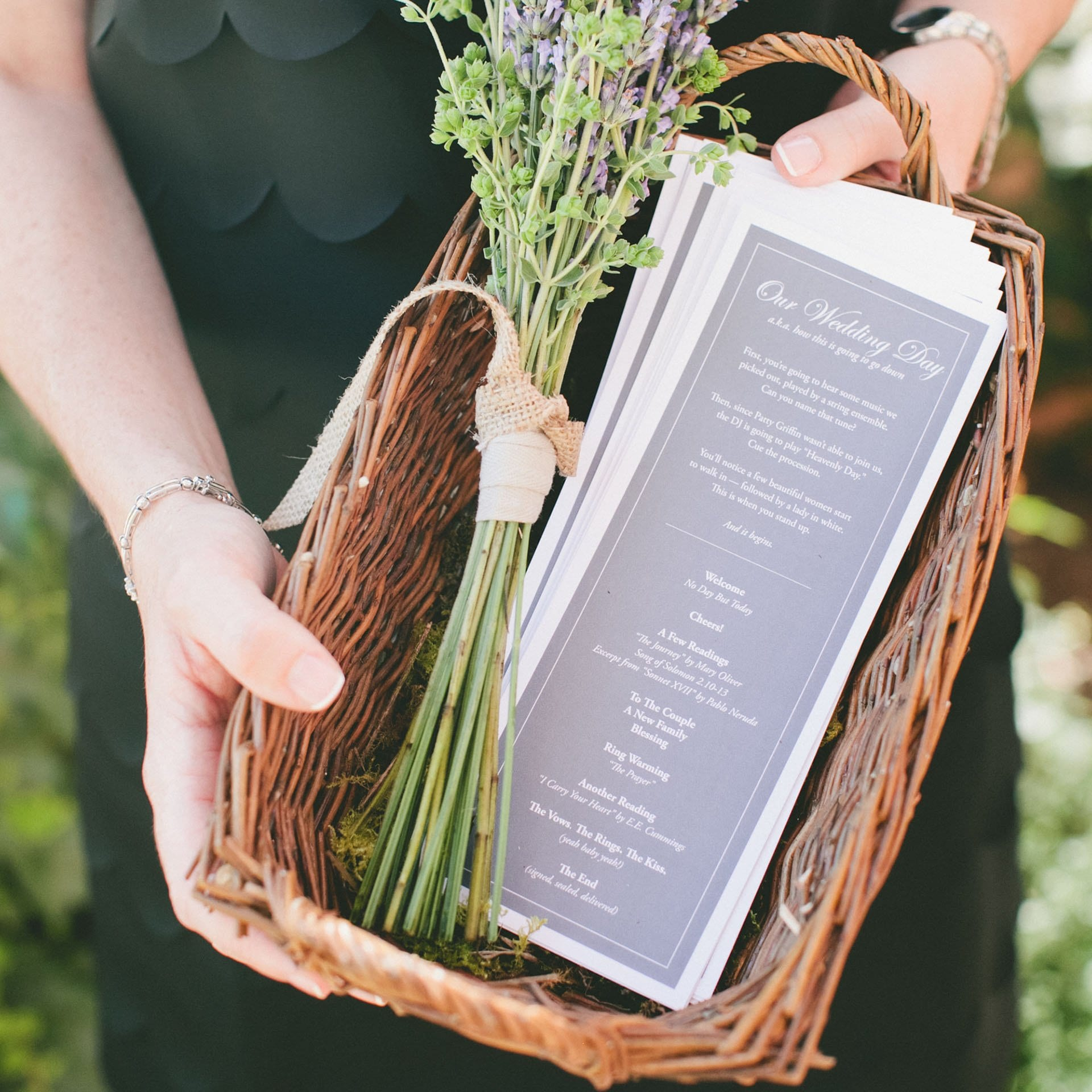 Seven Branches Venue and Inn - Wedding Invitation in woven basket with lavender